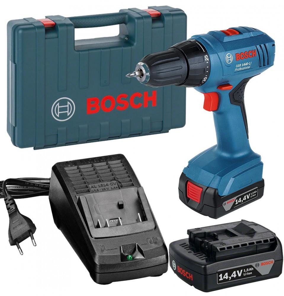 Bosch Akku Bohrschrauber GSR 1440li professional + Koffer + 2x Akku + Schnellladegerät