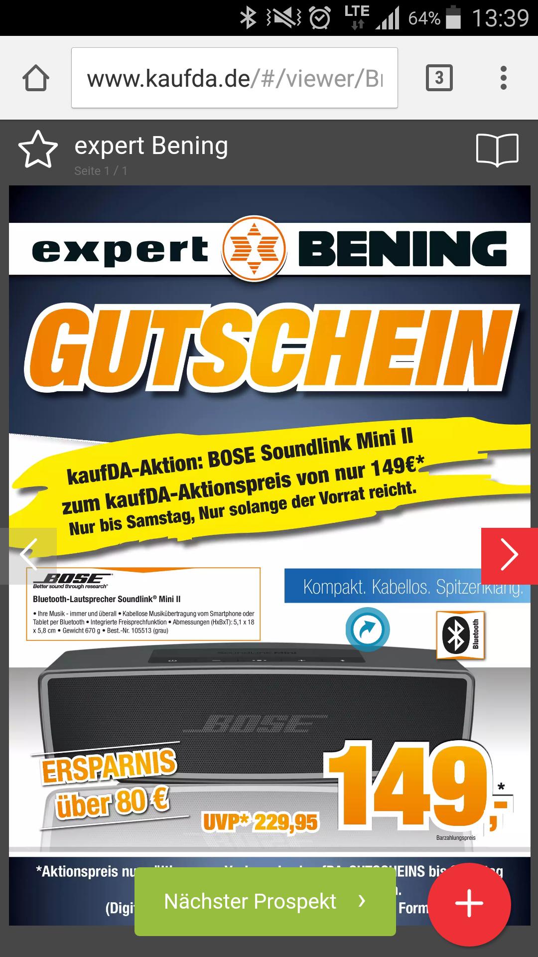 [Offline alle 19 Expert Bening Filialen]Bose SoundLink Mini II - Multimedia-Lautsprecher 149,-€
