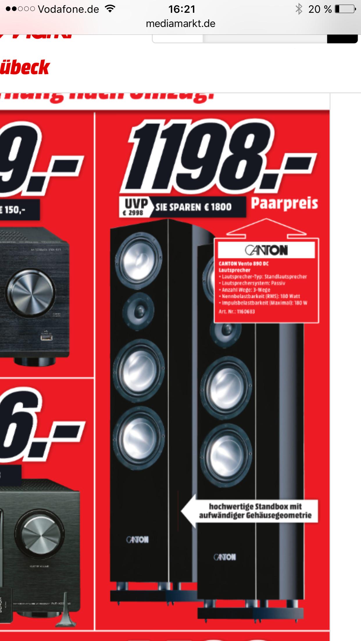 Canton Vento 890 schwarz Stück für 599,- €  Paar 1198,- € Media Markt Lübeck Neueröffnung