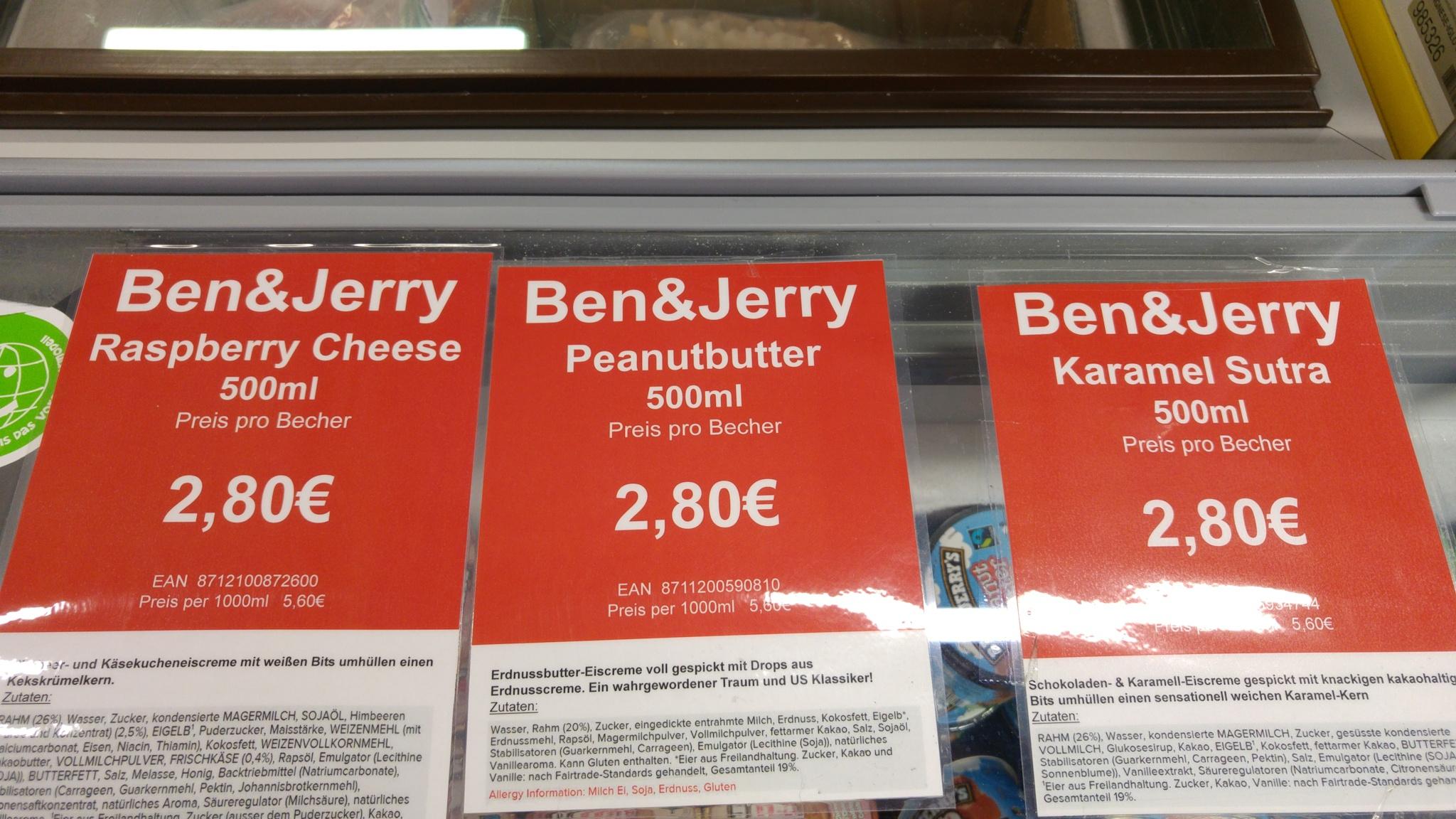 [lokal Heppenheim] Langnese Fabrikverkauf Ben&Jerry 2,80 €