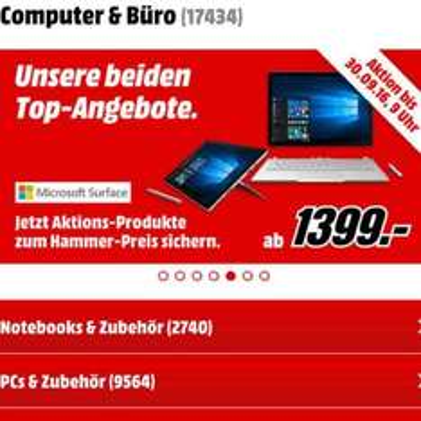 Microsoft Surface Pro 4 (i7-6650U, 16GB, 256GB SSD, 2736 x 1824 Pixel) @mediamarkt.de