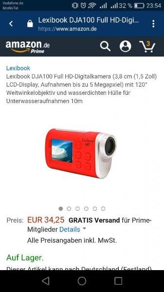 [AMAZON] Lexibook DJA100 Full HD-Digitalkamera (3,8 cm (1,5 Zoll)Vergleich Preis 85€