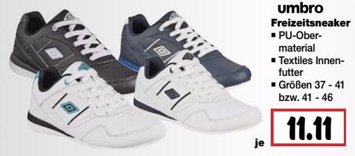 Umbro Freizeit Sneaker Gr.37-46 für 11,11€ bei Kaufland bis 05.10.2016