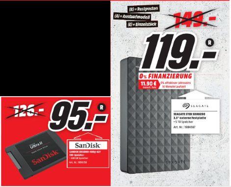 [Lokal Mediamarkt Peine] SanDisk Ultra II SSD 480 GB Sata III 2,5 Zoll Festplatte für 95,-€ oder Seagate Expansion Desktop, 5TB, externe Desktop Festplatte; USB 3.0 (STEB5000200) für 119,-€