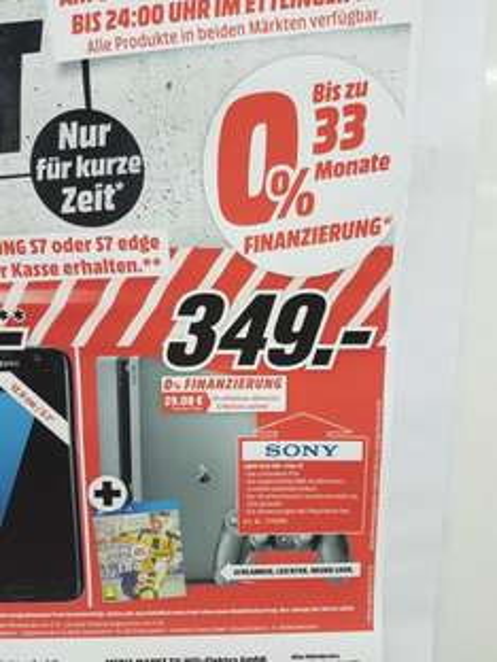 Sony ps4 1tb + fifa 2017 (lokal Karlsruhe) mediamarkt