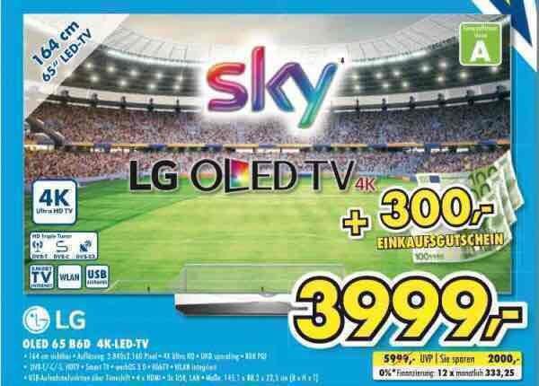 LG OLED 65B6D 4K-LED TV für 3999€ + 300€ Einkaufsgutschein geschenkt | Euronics Bücker Gütersloh