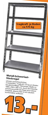 [Globus Baumarkt Wiesental] Metall-Schwerlast-Steckregal für 13 €