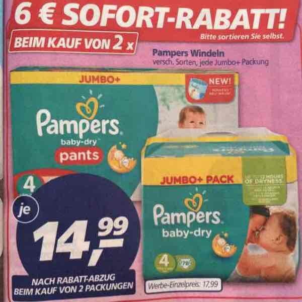2x Pampers Jumbo+ Packung kaufen für je 14,99€