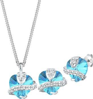 Elli Kristallkette + Ohrstecker Set Herz blau (5% Rabatt und 15€ Neukundenbonus) bei Otto