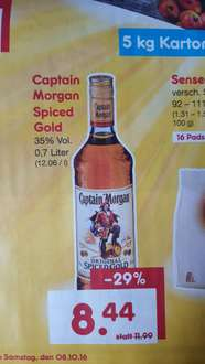 Netto Marken-Discount nur am 08.10.2016: Captain Morgan Spiced Gold (0,7L) für 8,44 Euro