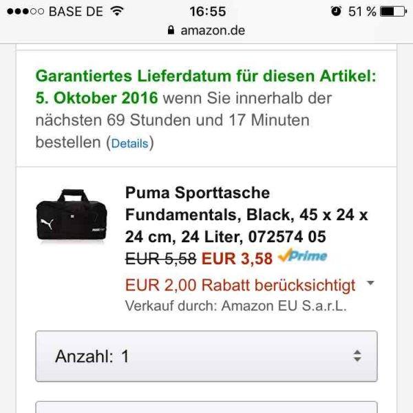 Puma Sporttasche Fundamentals für 3,58€