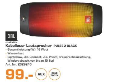 [Lokal Saturn Freiburg] JBL Pulse 2 Spritzwasserfester Tragbarer Bluetooth Lautsprecher mit Interaktiver Lightshow und Freisprecheinrichtung - Schwarz für 99,-€ **Ab 100,-€ Einkaufswert CD,DVD oder Bluray im Wert von 15,-€ geschenkt