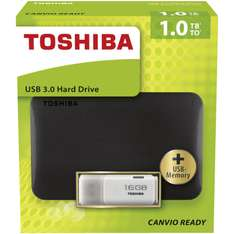 Toshiba Canvio Usb 3.0 1 TB 2,5 Zoll + 16 GB 3.0 USB Stick