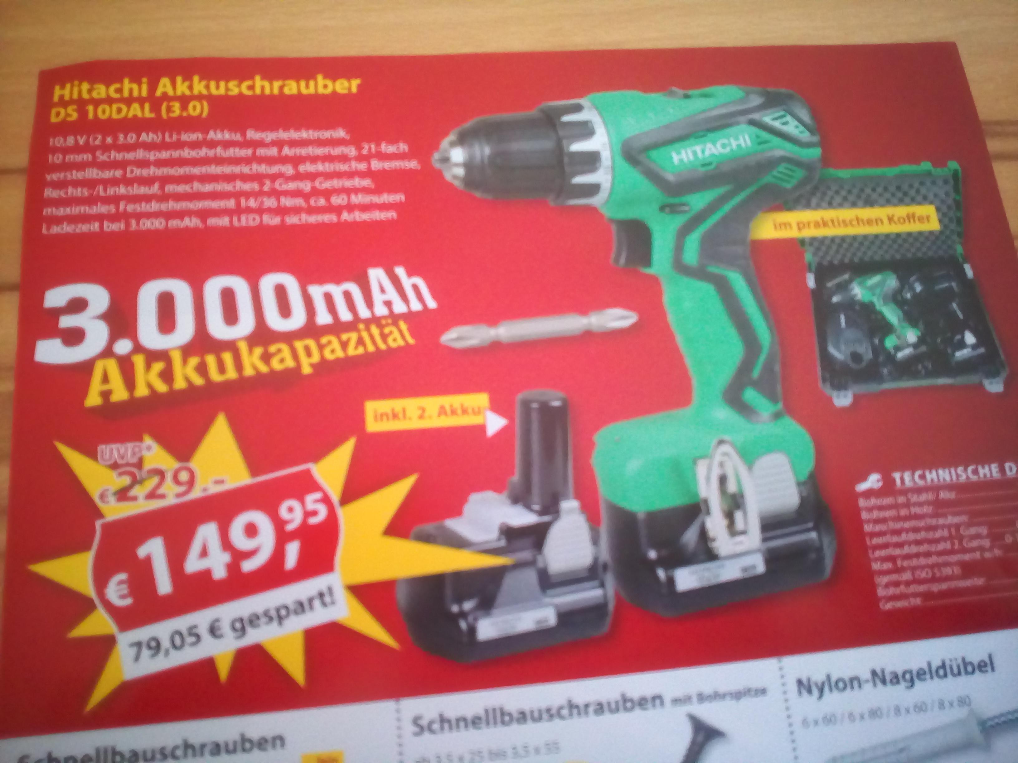 Hitachi DS10DAL (3.0L) 10,8 V Akku Bohrschrauber bei Sonderpreis Baumarkt