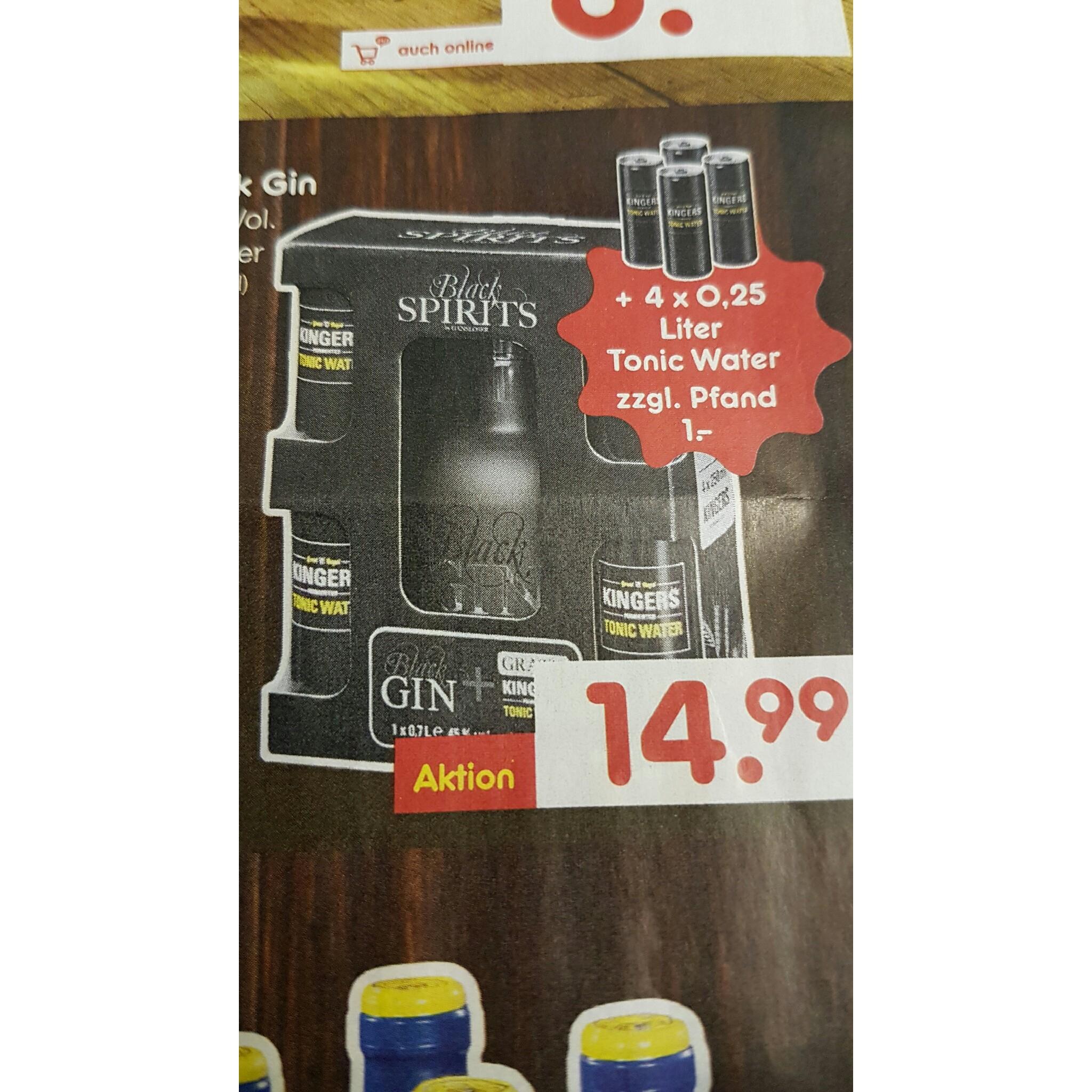 [ Lokal Lingen?]  Netto  (ohne Hund ) Black Gin by Gansloser ink. 4 x 0,25l Tonic Water für 15,99€