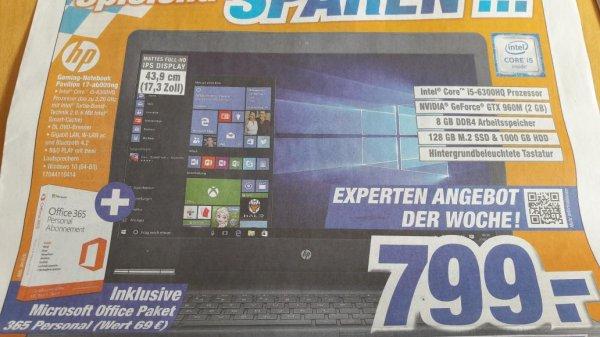 HP Gaming Notebook Pavilion 17-ab00ng + gratis Office Paket bei EXPERT KLEIN für 799€