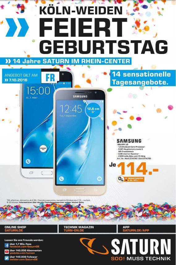 [Lokal] SATURN Köln Weiden am 07.10.2016 Samsung Galaxy J3 weiß + gold für 114 statt 152,90