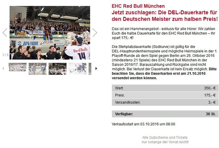 [lokal München] DEL-Dauerkarte für Heimspiele des EHC München für 178€