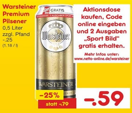 [NETTO OHNE HUND BUNDESWEIT] 1x 0,5l Dose Warsteiner + 2 Ausgaben Sport BILD (Print - selbstkündigend) für 0,59€