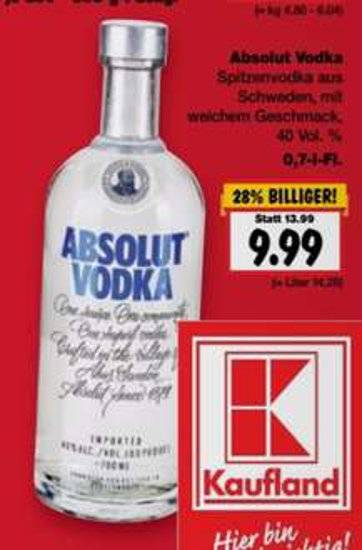 [Kaufland] Absolut Vodka 0,7l ab 6.10.2016