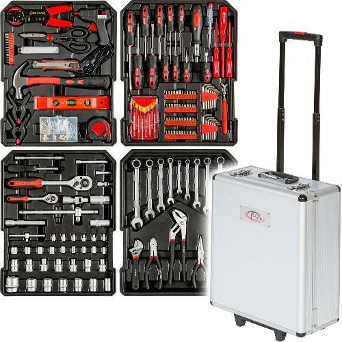 Trolley-Werkzeugkoffer aus Aluminium 416-tlg alles für den Hobbyheimwerker (TecTake)