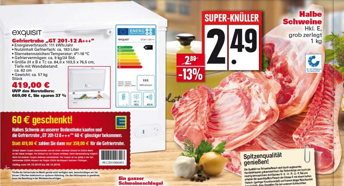 [EDEKA Nordbayern / Sachsen / Thüringen] Exquisit GT 201-12 A+++ Weiß Gefriertruhe, A+++, 183 Liter + halbes Schwein für 361,49€