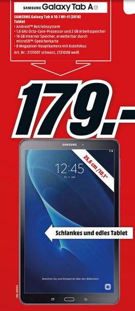 [ab 20:00 Deutschlandweit] Samsung Galaxy Tab A 2016 10.1 wifi SM-T580 fü 179€