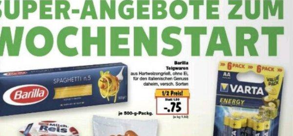 Barilla Teigwaren verschiedene Sorten zum halben Preis(0,75 Euro)