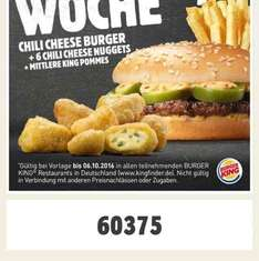 Burger King 6 Chilli Cheese Nuggets + Chili Cheeseburger + Mittlere Pommes