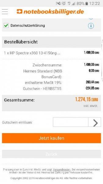 HP Spectre X360 (13-4156) bei NBB mit 15% Gutschein