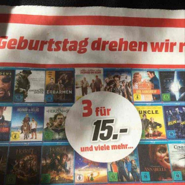 [lokal MediaMarkt Bad Kreuznach] 3 BluRays für 15€