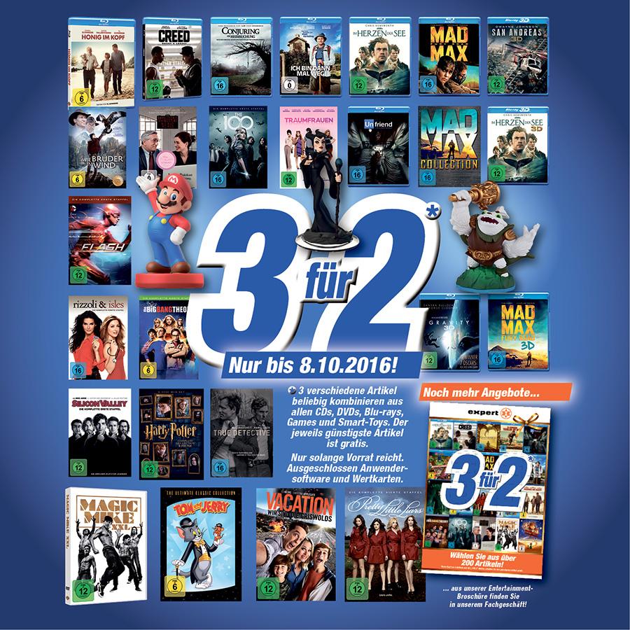 3 für 2 Aktion auf CDs, DVDs, Blu-rays, Games und Smart Toys bei Flösch Emmendingen und Müllheim
