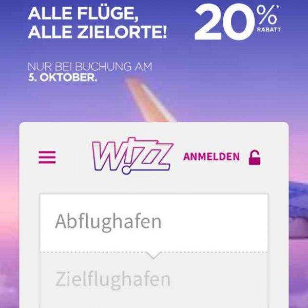 Wizz Air 20% Alle Flüge