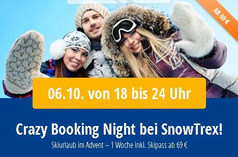 1 Woche Skiurlaub inkl. Skipass ab 69 € pro Person bei Snowtrex