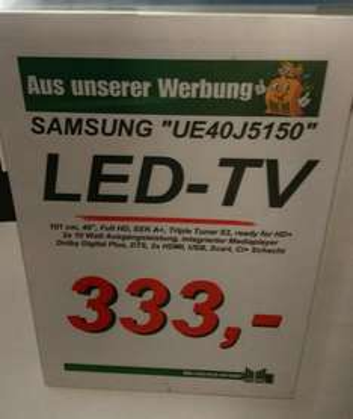 Samsung UE40j5150 für umgerechnet 313€