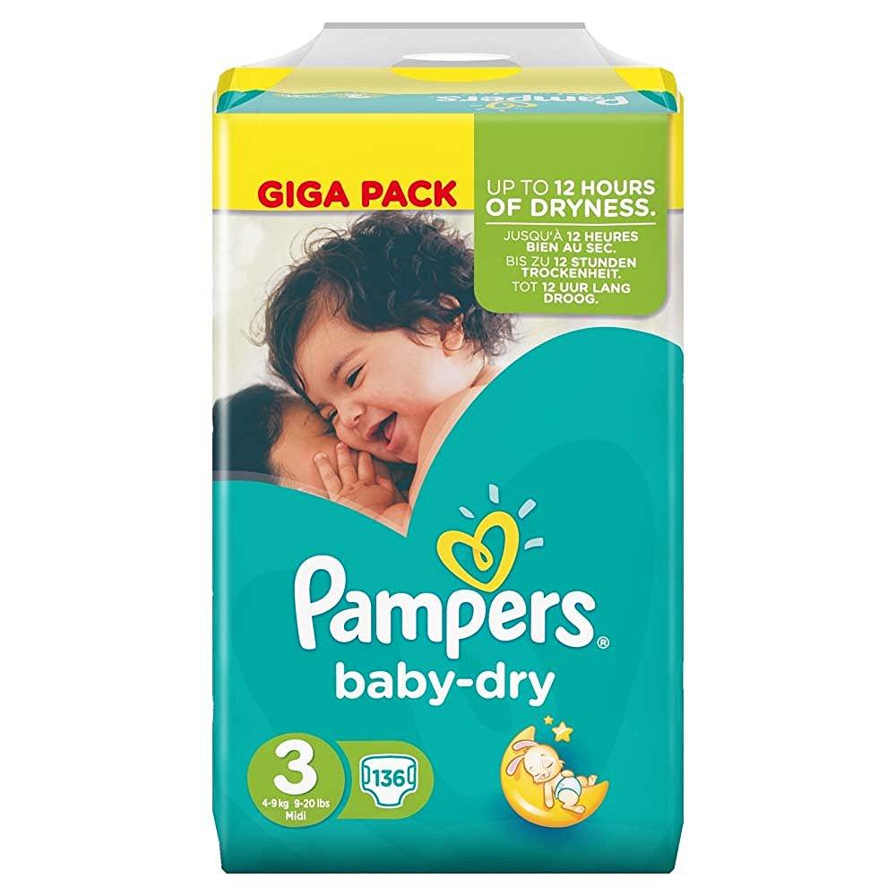 [Abgelaufen] Pampers Baby-Dry Midi Giga Pack (Gr. 3, 4-6kg) 136 Stück | 60% Ersparnis | Getnow München