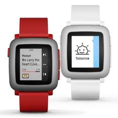 Pebble Time Smart Watch weiß rot IOS Android Fitnessuhr ePaper Farbdisplay, Rückläufer  (ebay wow)