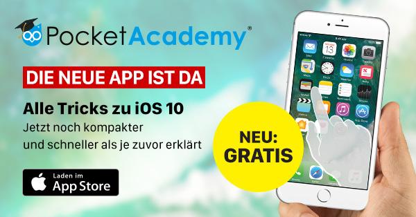 {iOS} Pocket Academy App mit Video Tipps für iOS 10
