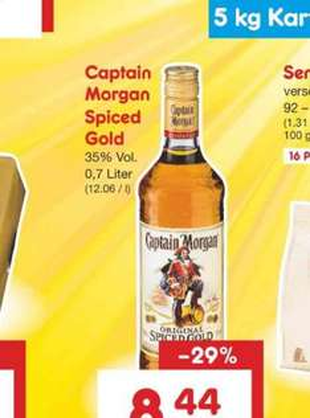 Captain Morgan 0,7 Liter für 8,44€ (Netto ohne Hund /Bayern) nur am 08.10.16