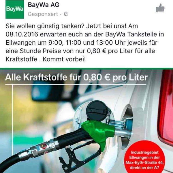 Ellwangen Tankstelle Baywa alles 80cent