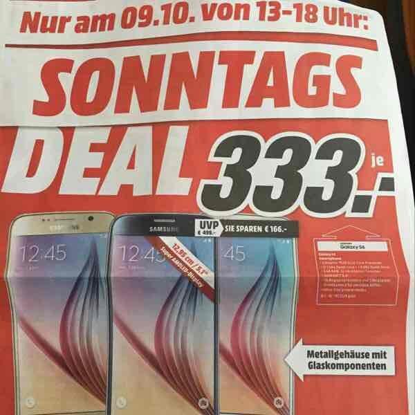 Samsung Galaxy S6 32 GB Gold 333 € nur am 9.10. (Lokal Heilbronn)