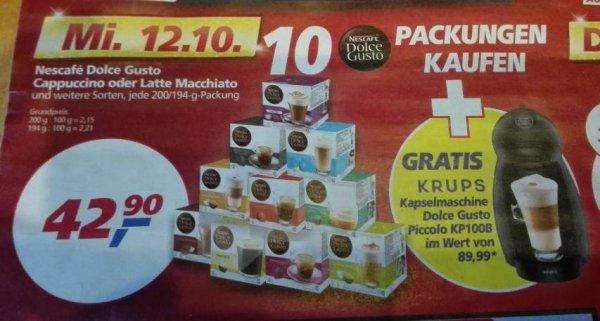 REAL 10x Dolce Gusto Kapseln für 42,90 Euro kaufen + Krups Dolce Gusto Kapselmaschine GRATIS