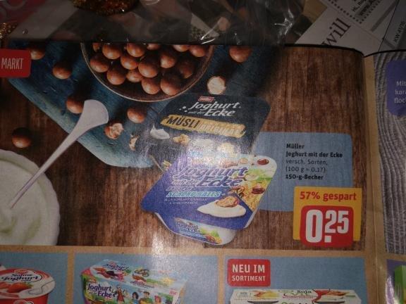 Rewe, Müller Joghurt mit der Ecke, bundesweit