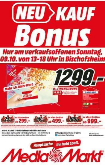 [Lokal] Samsung UE 55 KS 7090 Sonntagsdeal im Media Markt Bischofsheim für effektiv 1199 €
