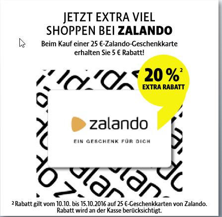 25€ Zalando Geschenkkarte für 20€ [Kaisers Bundesweit]