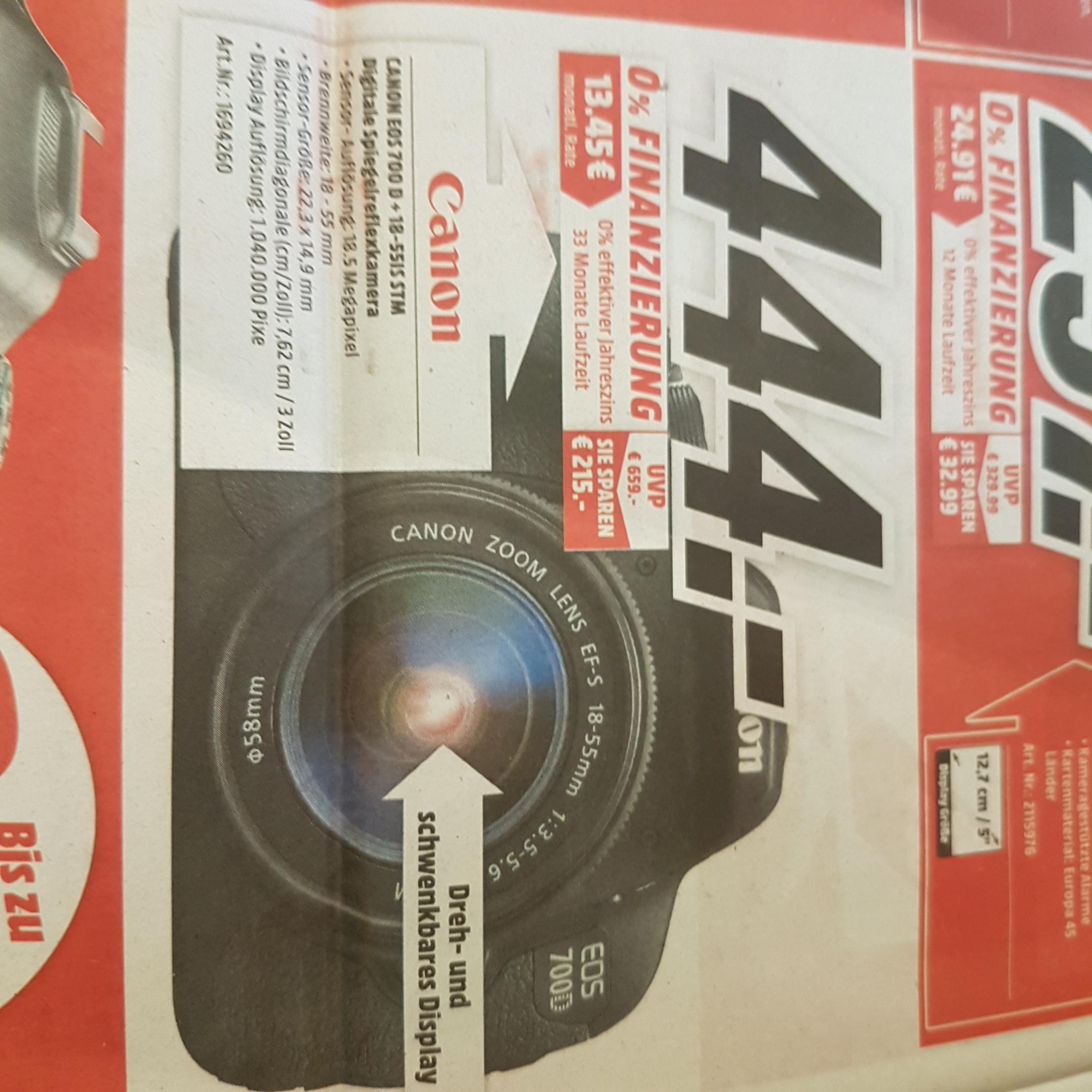 (lokal Karlsruhe) CANON EOS 700D inkl. 18-55IS STM Objektiv für 444€