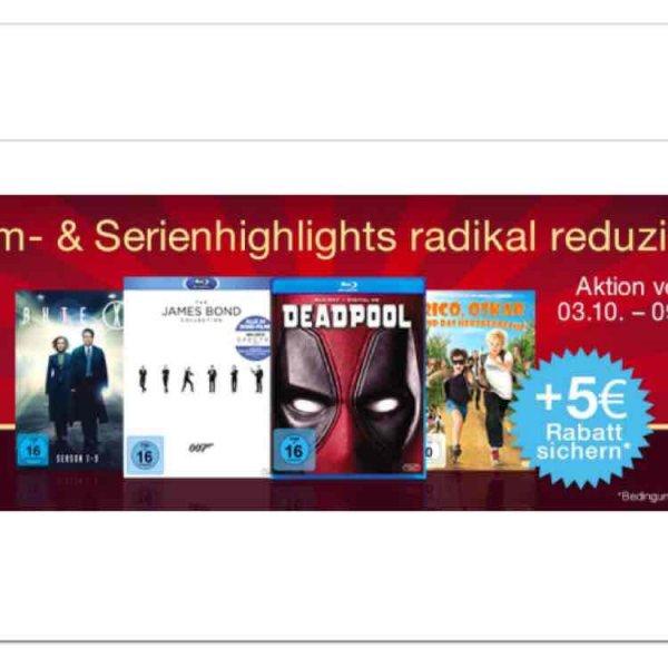 Amazon 5 Euro Sofortrabatt wenn man ausgewählte Blu Rays im Wert von 29 Euro kauft