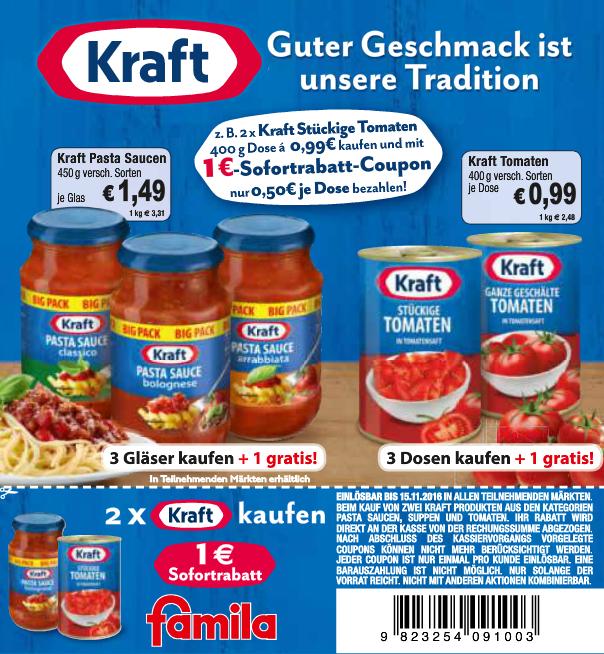 [Famila Nordost] 4x Kraft Tomatenkonserven 400g für 1,97€ oder 4x Kraft Pastasauce 450g für 3,47€ (Angebot+Aktion+Coupon)