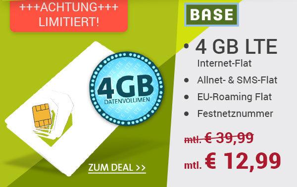 o2/Base: Allnet-Flat+ 4GB LTE Surf-Flat + EU-Flat für 12,99€/Monat