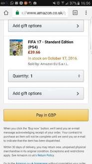 Fifa 17 amazon.uk 40£ (ca.45€)